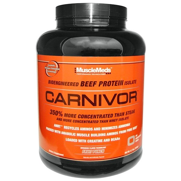 MuscleMeds, Carnivor, Bioengineered Beef Protein Isolate, Fruit Punch, 4.1 lbs (1848 g) (Discontinued Item)