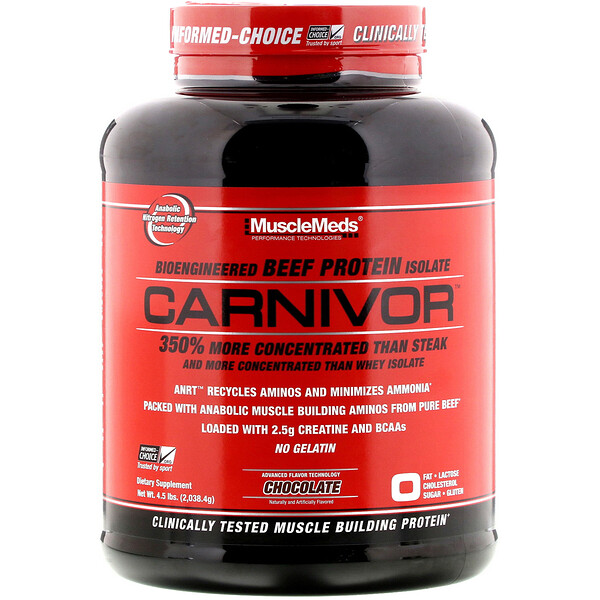 MuscleMeds, Carnivor, Bioengineered Beef Protein Isolate, Chocolate, 4.5 lbs (2,038.4 g) (Discontinued Item)