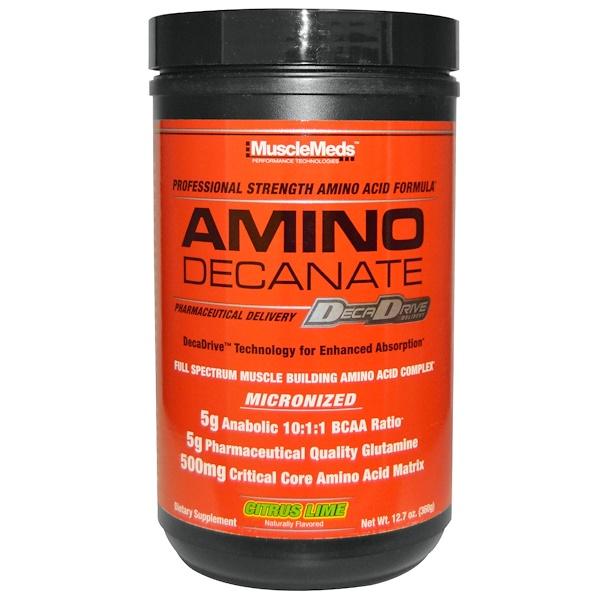 MuscleMeds, Amino Decanate, Professional Strength Amino Acid Formula, Citrus Lime, 12、7 oz (360 g)