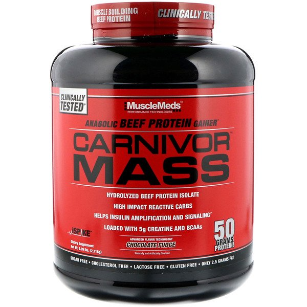 Carnivor Mass, Anabolic Beef Protein Gainer, Chocolate Fudge, 5.99 lbs (2,716 g)