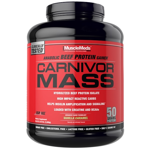 MuscleMeds, Carnivor Mass, Anabolic Beef Protein Gainer, Vanilla Caramel, 5.93 lbs (2,688 g) (Discontinued Item)