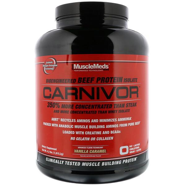 MuscleMeds, Carnivor, Bioengineered Beef Protein Isolate, Vanilla Caramel, 4.2 lbs (1,915.2 g)