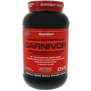 MuscleMeds, カーニヴァー、バイオエンジニアードビーフプロテインアイソレート、バニラキャラメル、2.1 lbs (957.6 g)