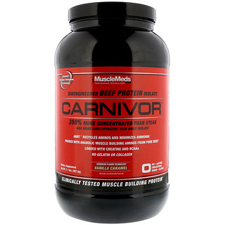 MuscleMeds, Carnivor, Bioengineered Beef Protein Isolate, Vanilla Caramel, 2.1 lbs (957.6 g)