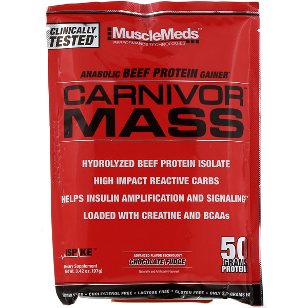 MuscleMeds, Carnivor Mass, Anabolic Beef Protein Gainer, Chocolate Fudge, 3.42 oz (97 g)