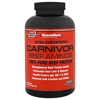 MuscleMeds, Carnivor Beef Aminos, 100% Pure Beef Protein, 300 Tablets