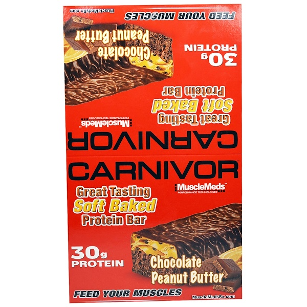 MuscleMeds, Carnivor, Chocolate Peanut Butter, Protein Bars, 12 Protein Bars, 3.2 oz (91 g) Each (Discontinued Item)