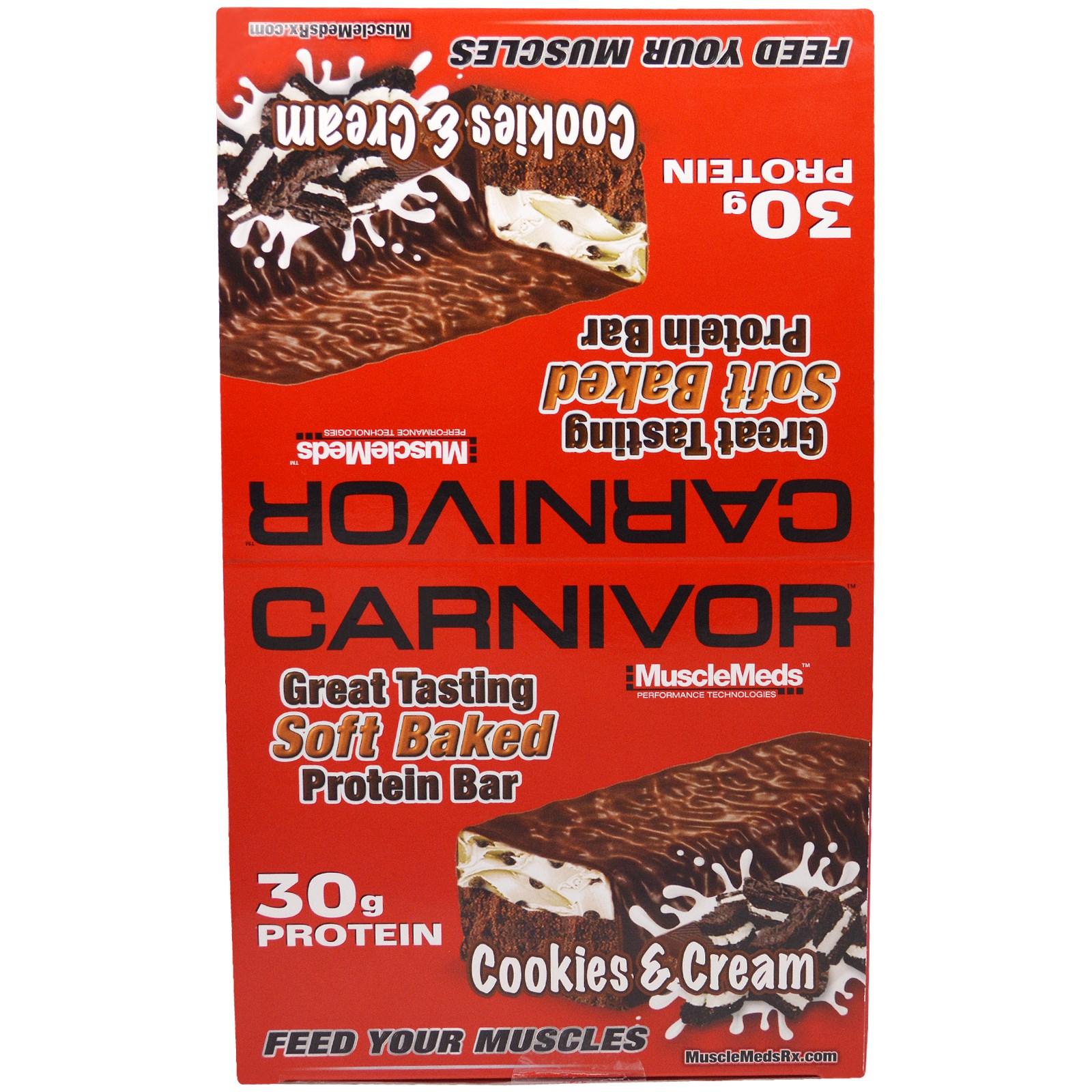 """MuscleMeds, """"Плотояд"""", белковые батончики из мягкого печенья со вкусом молочного коктейля с шоколадным печеньем, 12 белковых батончиков по 3,2 унции (91 г)"""