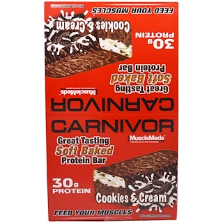MuscleMeds, Carnivor Soft Baked Protein Bar, Cookies & Cream, 12 Bars, 3.2 oz (91 g) Each