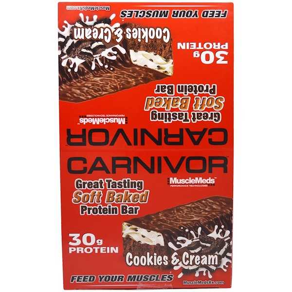 MuscleMeds, Carnivor Soft Baked Protein Bar, Cookies & Cream, 12 Bars, 3.2 oz (91 g) Each (Discontinued Item)