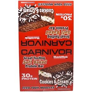 МаслМэдс, Carnivor Soft Baked Protein Bar, Cookies & Cream, 12 Bars, 3.2 oz (91 g) Each отзывы