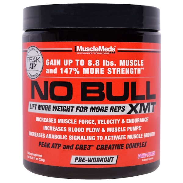 MuscleMeds, No Bull, XMT, Pre-Workout, Fruit Punch, 8.11 oz (230 g) (Discontinued Item)