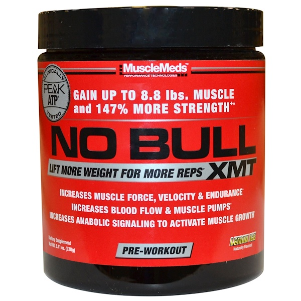 MuscleMeds, No Bull XMT, Pre-Workout, Lemon Ice, 8.11 oz (230 g) (Discontinued Item)