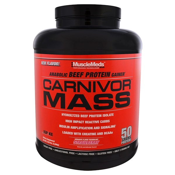 MuscleMeds, Carnivor Mass, Strawberry, 5.95 lbs (2,698 g) (Discontinued Item)