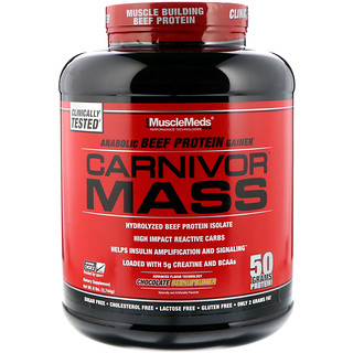 MuscleMeds, Carnivor Mass, Anabolic Beef Protein Gainer, Chocolate Peanut Butter, 6 lbs (2,744 g)