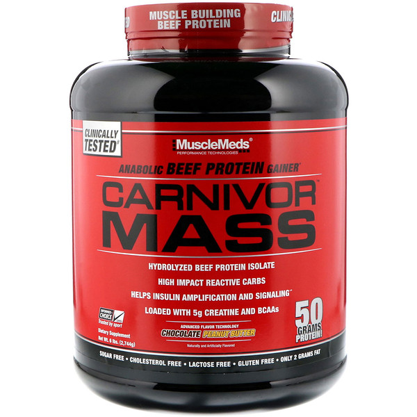 Carnivor Mass, Anabolic Beef Protein Gainer, Chocolate Peanut Butter, 6 lbs (2,744 g)