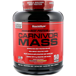 МаслМэдс, Carnivor Mass, Anabolic Beef Protein Gainer, Chocolate Peanut Butter, 6 lbs (2,744 g) отзывы