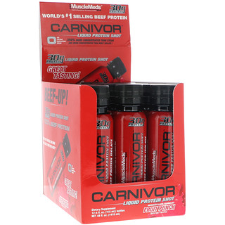 MuscleMeds, Carnivor, Liquid Protein Shot, Fruit Punch, 12 Pack, 4 fl oz (118 ml) Each