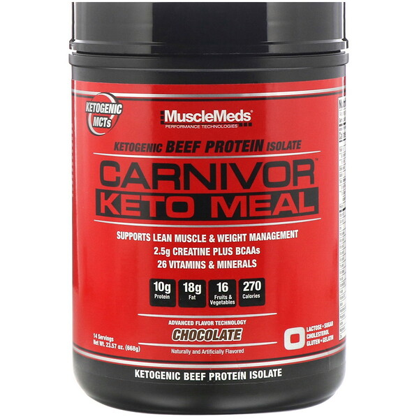 Carnivor, Keto Meal, Ketogenic Beef Protein Isolate, Chocolate, 23.57 oz (668 g)