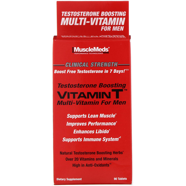 MuscleMeds, Vitamin T, Testosterone Boosting Multi-Vitamin for Men, 90 Tablets