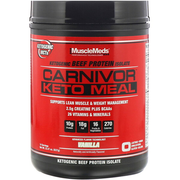 MuscleMeds, Carnivor, Keto Meal, Ketogenic Beef Protein Isolate, Vanilla, 22.47 oz (637 g)