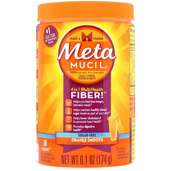 Metamucil, 4 في 1 مسحوق متعدد الألياف الصحية، خال من السكر، برتقال ناعم، 6.1 أونصة (174 غرام) (Discontinued Item)