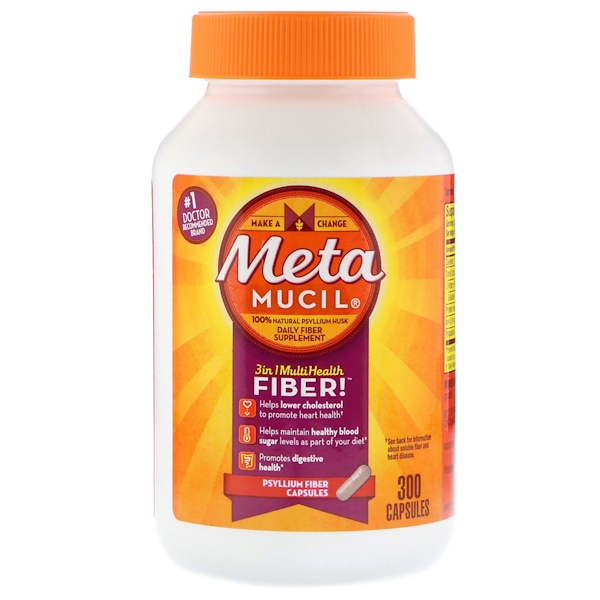 Metamucil, 3 in 1 MultiHealth Fiber, fibra de psilio, 30 cápsulas (Discontinued Item)