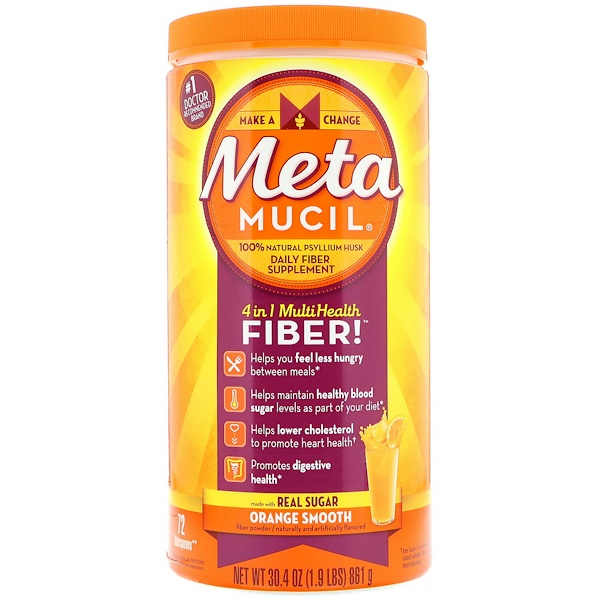 Metamucil, 4 in 1 Multihealth Fiber Powder, Orange Smooth , 30.4 oz (861 g)
