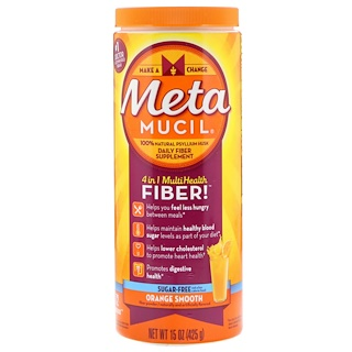 Metamucil, Polvo 4 in 1 MultiHealth Fiber, sin azúcar, jugo de naranja, 15 oz (425 g)