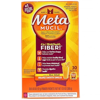 Metamucil, 4 in 1 MultiHealth Fiber, Orange Smooth Singles, 30 Packets, 0.43 oz (12 g) Each