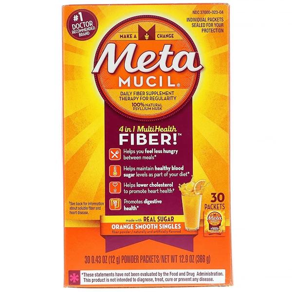 Metamucil, Fibra MultiHealth 4 em 1, Porções Únicas de Laranja Suave, 30 Sachês, 0,43 oz (12 g) Cada