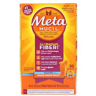 Metamucil, 4 in 1 MultiHealth Fiber Powder, Sugar Free, Orange Smooth Singles, 30 Packets, 0.21 oz (5.8 g) Each