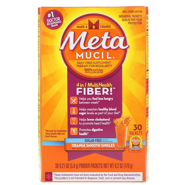 Metamucil, 4 in 1 MultiHealth Fiber Powder Packets, Sugar Free, Orange Smooth Singles, 30 Packets, 0.21 oz (5.8 g) Each (Discontinued Item)