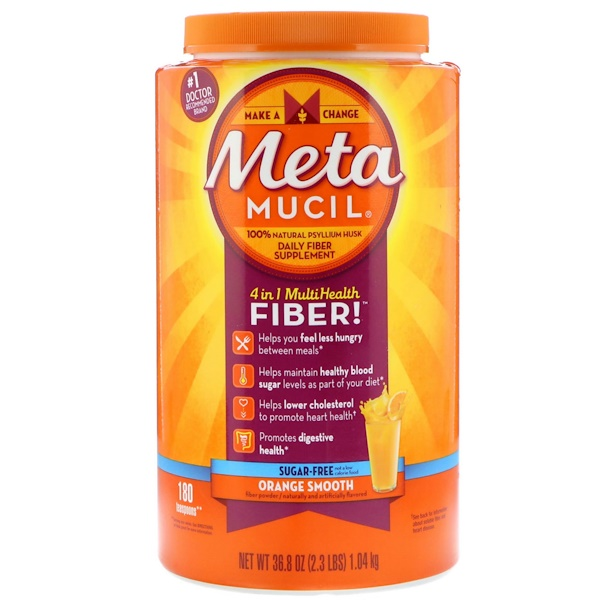 Metamucil, 4 in 1 MultiHealth Fiber Powder, Sugar Free, Orange Smooth, 36.8 oz (1.04 kg) (Discontinued Item)