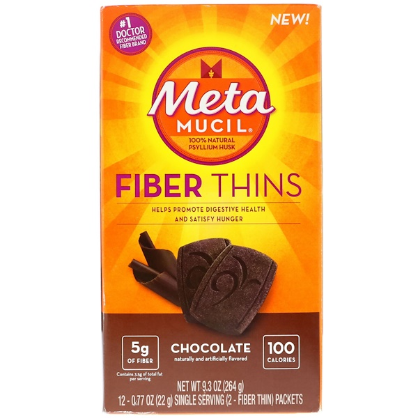 Metamucil, Fiber Thins, Chocolate, 12 Fiber Thin Packets, 0.77 oz (22 g) Each (Discontinued Item)