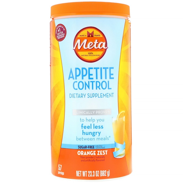 Metamucil, Appetite Control Dietary Supplement, Powder, Orange Zest, 1.45 lbs (662 g)