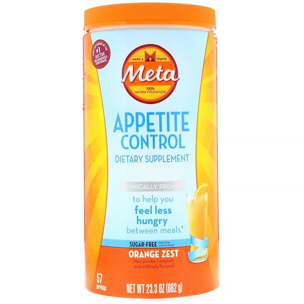 Metamucil, Appetite Control Dietary Supplement, Powder, Orange Zest, 1.45 lbs (662 g) (Discontinued Item)