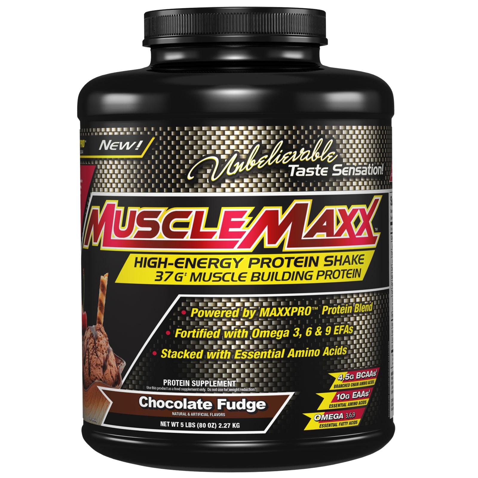 MuscleMaxx, High Energy Protein Shake, Chocolate Fudge, 80 oz (2.27 kg)