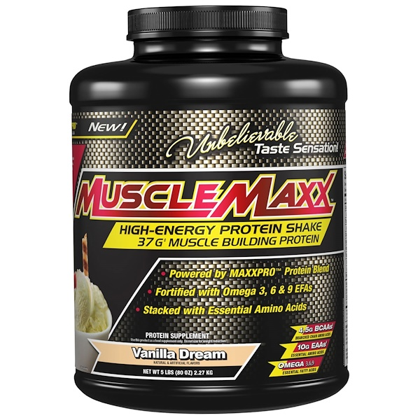 MuscleMaxx, High Energy + Muscle Building Protein, Vanilla Dream, 5 lb (2、27 kg)