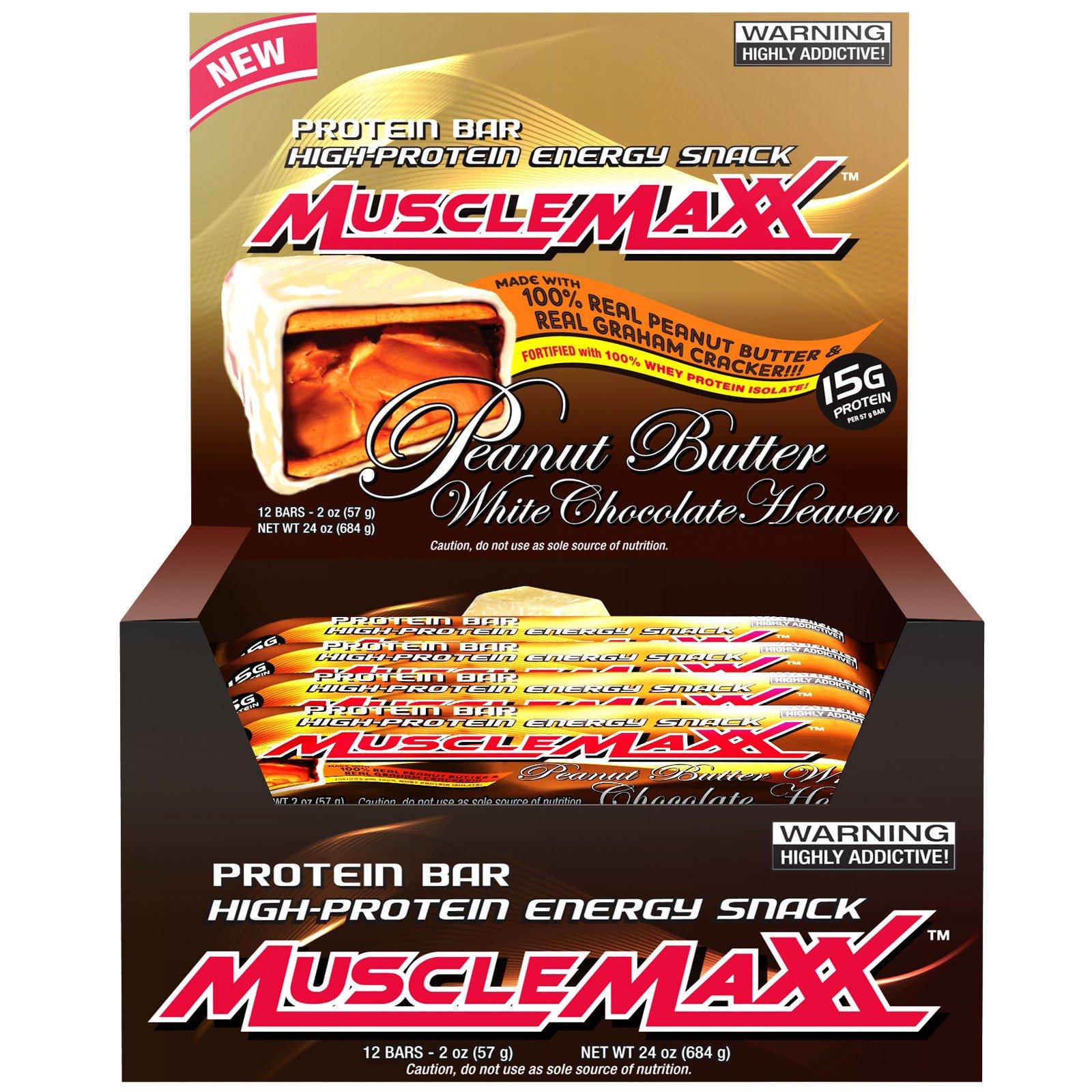 MuscleMaxx, Протеиновый батончики с высоким содержанием белка, белый шоколад-арахисовое масло, 12 шт, 2 унции (57 г)