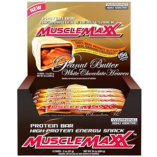 MuscleMaxx, High-Protein Energy Snack, Protein Bar, Peanut Butter White Chocolate Heaven, 12 Bars, 2 oz (57 g)
