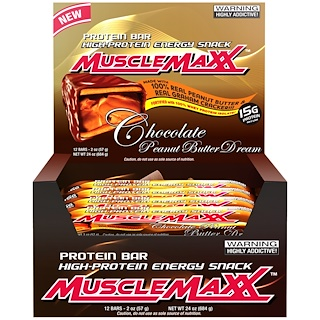 MuscleMaxx, High-Protein Energy Snack, Chocolate Peanut Butter Dream, 12 Bars, 2 oz (57 g) Each