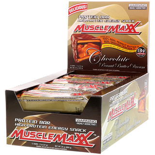 MuscleMaxx, Protein Snackbar, Chocolate Peanut Butter, 12 Bars, 2 oz (57 g) Each