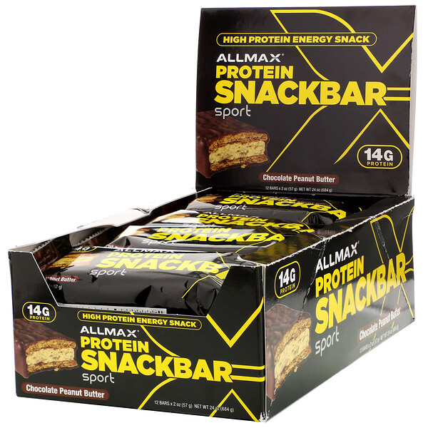 High Protein Energy Snack, Protein Bar, Chocolate Peanut Butter, 12 Bars, 2 oz (57 g) Each