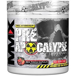 MuscleMaxx, PRE APOCALYPSE, Pre-Workout, Arginine + Taurine + Creatine + Beta-Alanine, Red Punch Napalm, 11.28 oz (320 g)