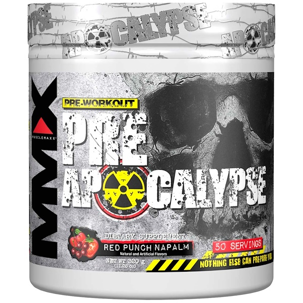 MuscleMaxx, PRE APOCALYPSE,鍛煉前使用,精氨酸+牛磺酸+肌酸+β-丙氨酸,紅果汁爆炸力,11、28盎司(320克)