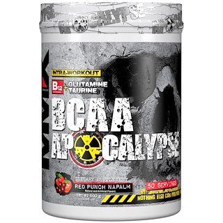 MuscleMaxx, BCAA Apocalypse, Intra-Workout, B12 + Glutamine + Taurine, Red Punch Napalm, 17.63 oz (500 g)