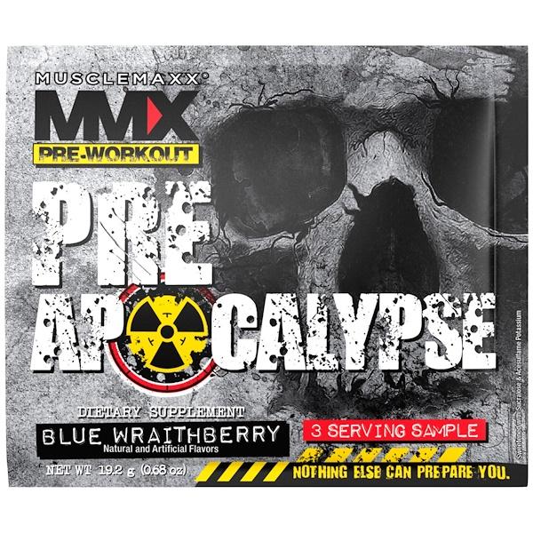 MuscleMaxx, プレアポカリプス、プレワークアウト、アルギニン+タウリン+クレアチン+ベータアラニン、ブルーレイトベリー、3回分サンプル (0.68 oz) (19.2 g)