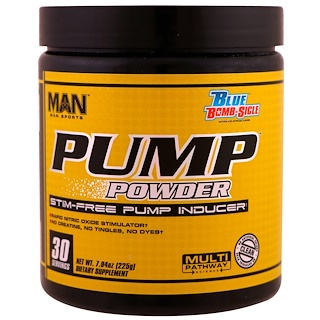 MAN Sports, Pump Powder, Stim-Free Pump Inducer,Blue Bomb-Sicle, 7.94 oz (225 g)