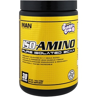 MAN Sports, ISO-Amino, Pure Isolated BCAA, Grape Bubble Gum, 7.41 oz (210 g)